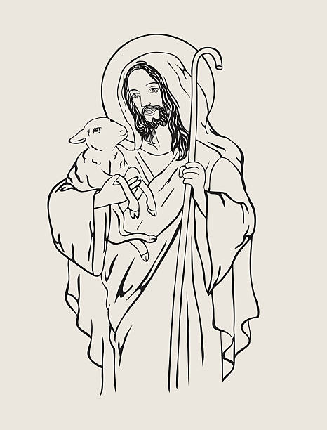 Best Jesus And Sheep Illustrations, Royalty-Free Vector