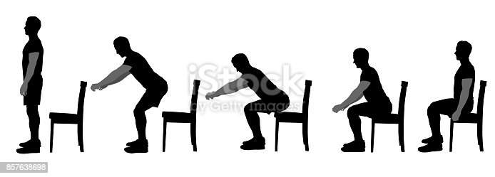 Illustration in silhouettes showing good form when sitting on a chair