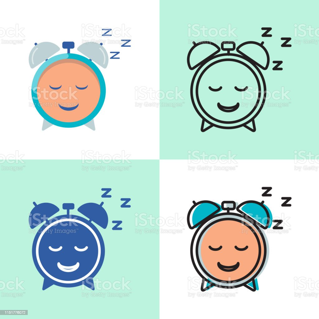 Good sleep icon set in flat and line style. Insomnia treatment...