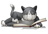Smart cat reading a book.