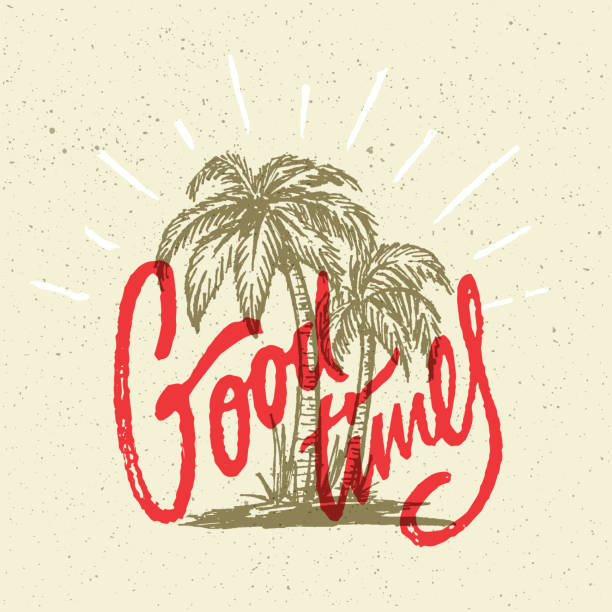 Good Times Summer Hand Crafted T Shirt Graphic Good Times Summer Positive Hand Crafted Vintage Original T Shirt Graphic Design. Handmade Retro Styled Apparel Print Concept. Old School Handwritten Authentic Custom Brushed Lettering. surf stock illustrations