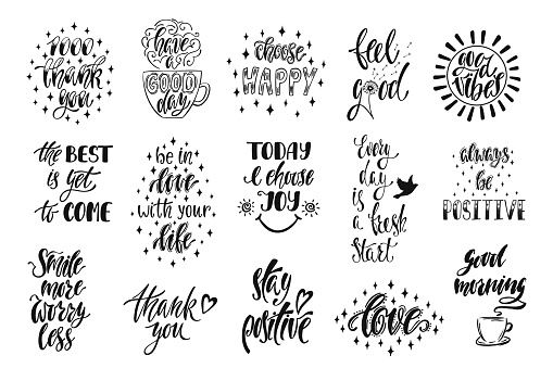 Good vibes, choose happy, love, thank you and others. Set of positive inspirational quotes. Modern calligraphy hand drawn phrases. Vector lettering