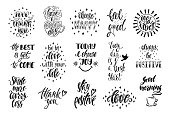 Good vibes, choose happy, love, thank you and others. Set of positive inspirational quotes. Modern calligraphy hand drawn phrases. Vector lettering for print, tshirt, poster. Typographic design.