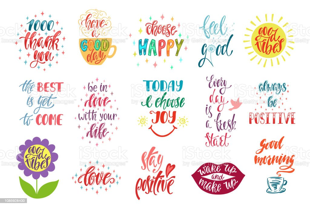 Good Vibes Choose Happy Love Thank You And Others Set Positive Inspirational Quotes Modern Calligraphy Hand Drawn Phrases Stock Illustration