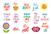 Good vibes, choose happy, love, thank you and others. Set of positive inspirational quotes. Modern calligraphy hand drawn phrases.