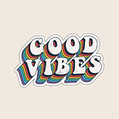 istock Good vibes lettering with vintage hippie styled rainbow shadow. Good vibes sticker design template. Isolated on white background. Vector illustration. 1273475715