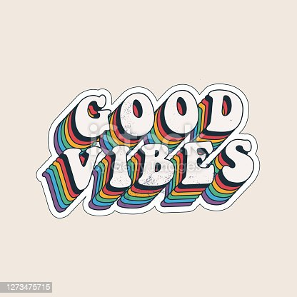 Good vibes lettering with vintage hippie styled rainbow shadow. Good vibes sticker design template. Isolated on white background. Vector eps 10 illustration.