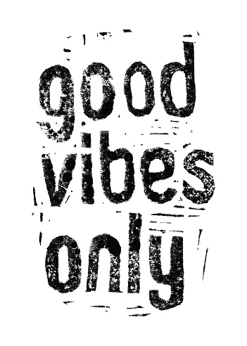 Good vibes only. Hand drawn linocut print.