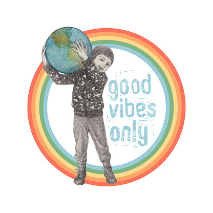 Good Vibes Only. Little Boy Holding Planet Earth.