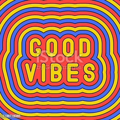 """istock """"Good vibes"""" slogan poster. Groovy, retro style design template of the 60s-70s. Vector illustration. 1136718085"""