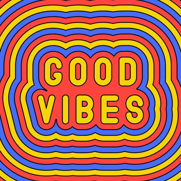 """stockillustraties, clipart, cartoons en iconen met """"good vibes"""" slogan poster. groovy, retro stijl ontwerpsjabloon van de jaren ' 60-70s. vector illustratie. - positieve emotie"""