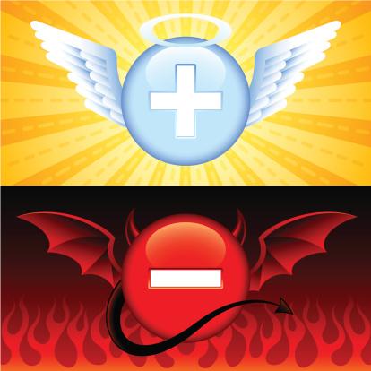 Good Vs Evil Buttons-vektorgrafik och fler bilder på Behornad