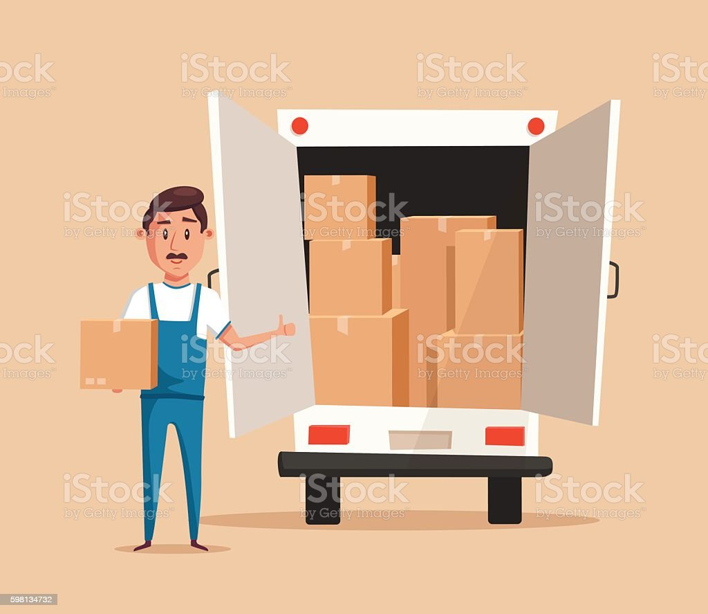 Good worker. Cartoon vector illustration. Relocation. Moving service vector art illustration
