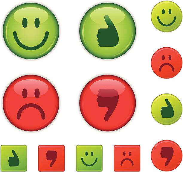 Good/bad, right/wrong, happy/sad, thumbs-up/thumb down vector art illustration