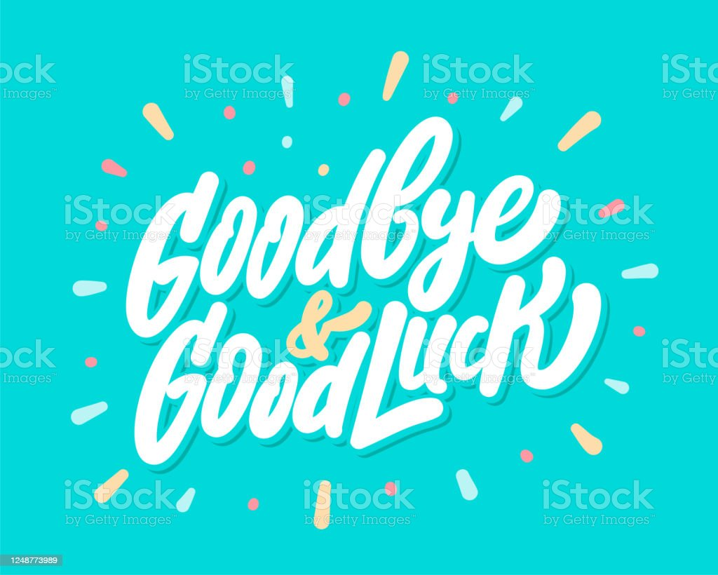 goodbye and good luck farewell card vector lettering stock