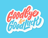 istock Goodbye and Good Luck. Farewell card. Vector lettering. 1248919156