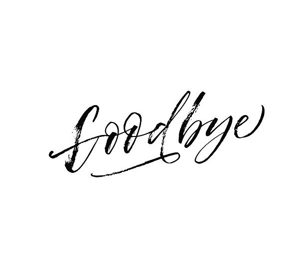 goodbye hand drawn lettering. - good bye stock illustrations, clip art, cartoons, & icons
