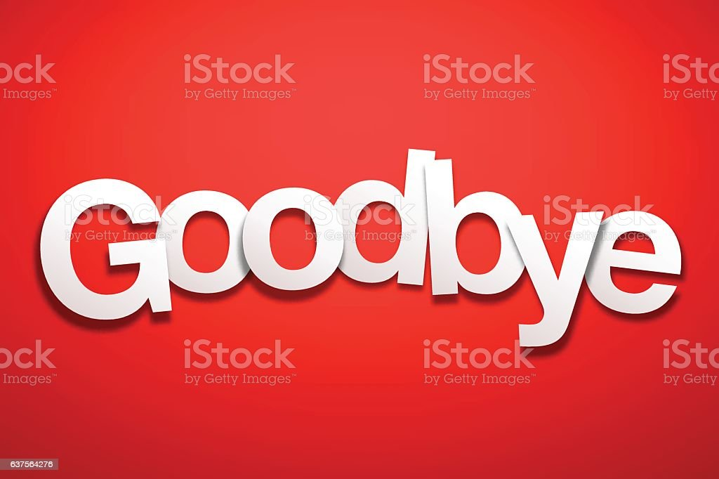 Goodbye Sign with Red Background - Paper Font vector art illustration