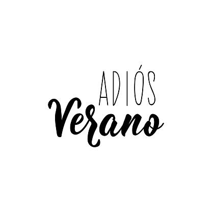 Goodbye summer - in Spanish. Adios verano. Lettering. Modern calligraphy.