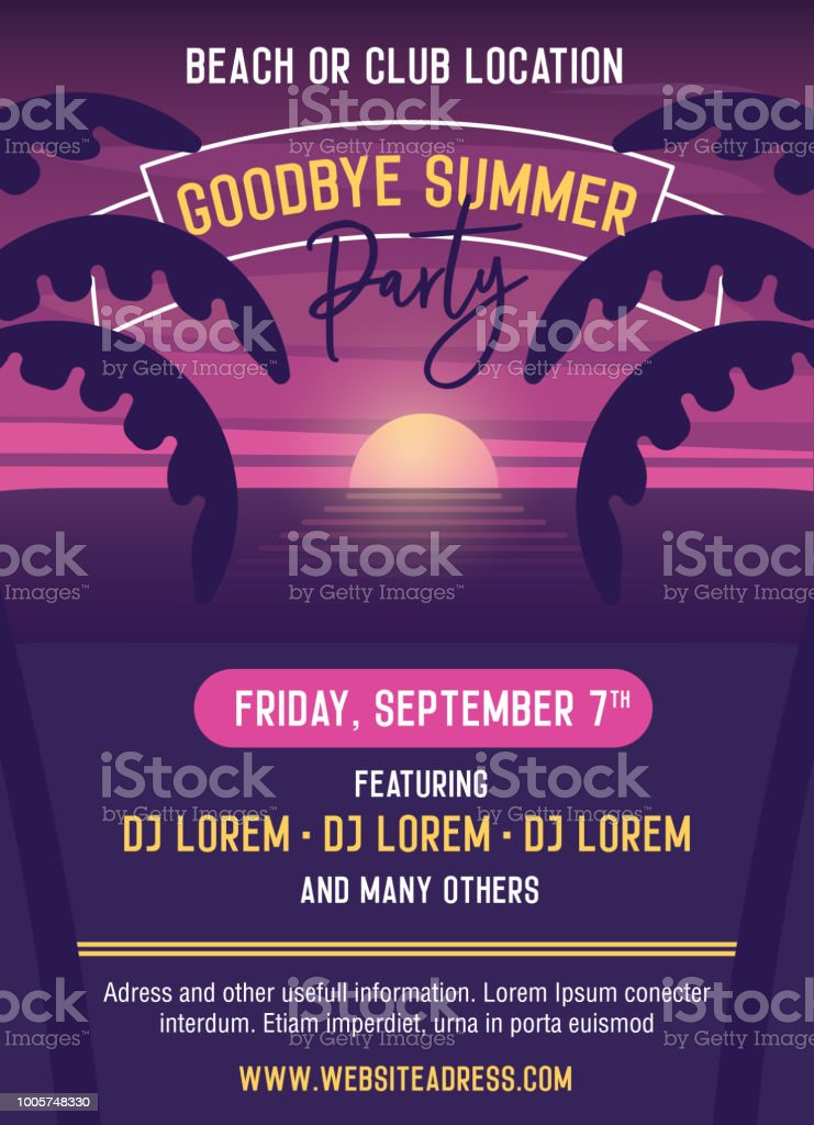Goodbye summer Party vector template illustration design. Easily editable with your text. Poster, banners, flyers, covers to advertise your event. Summer, vacations, holidays, nightlife. vector art illustration