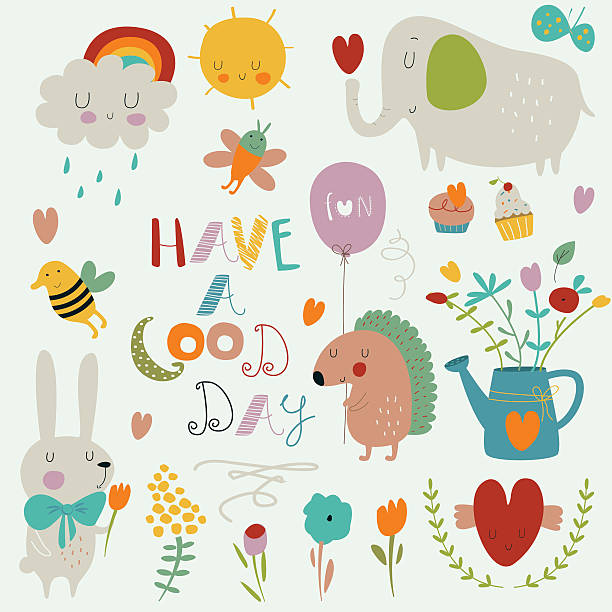 gooddaysetbright - elefantenkunst stock-grafiken, -clipart, -cartoons und -symbole