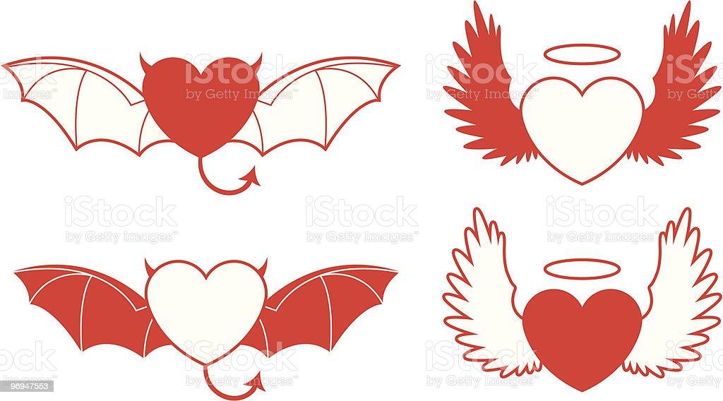 Good/evil heart - vector royalty-free goodevil heart vector stock vector art & more images of angel