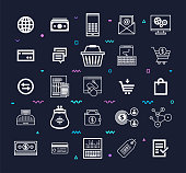 Goods & Services Using Internet Line Style Vector Icon Set