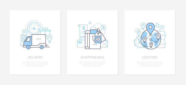 Goods shipping - line design style icons set vector art illustration