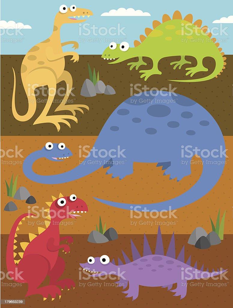 Goofy Dinosaurs royalty-free stock vector art
