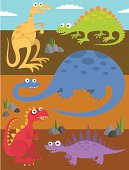 Five funny dinosaurs with some rocks, grass, and dirt.