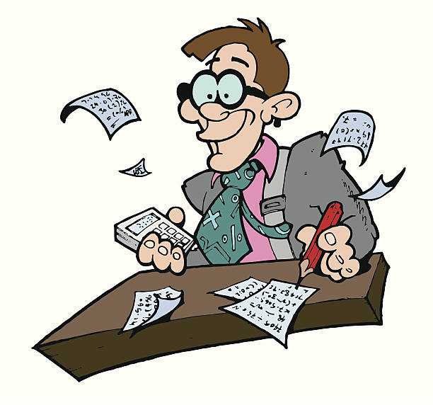 Goofy looking accountant vector art illustration