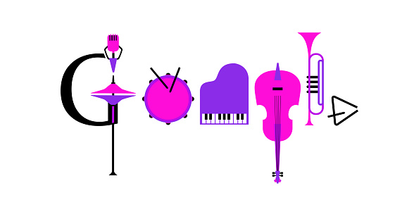 Google doodle musical instruments vector icon
