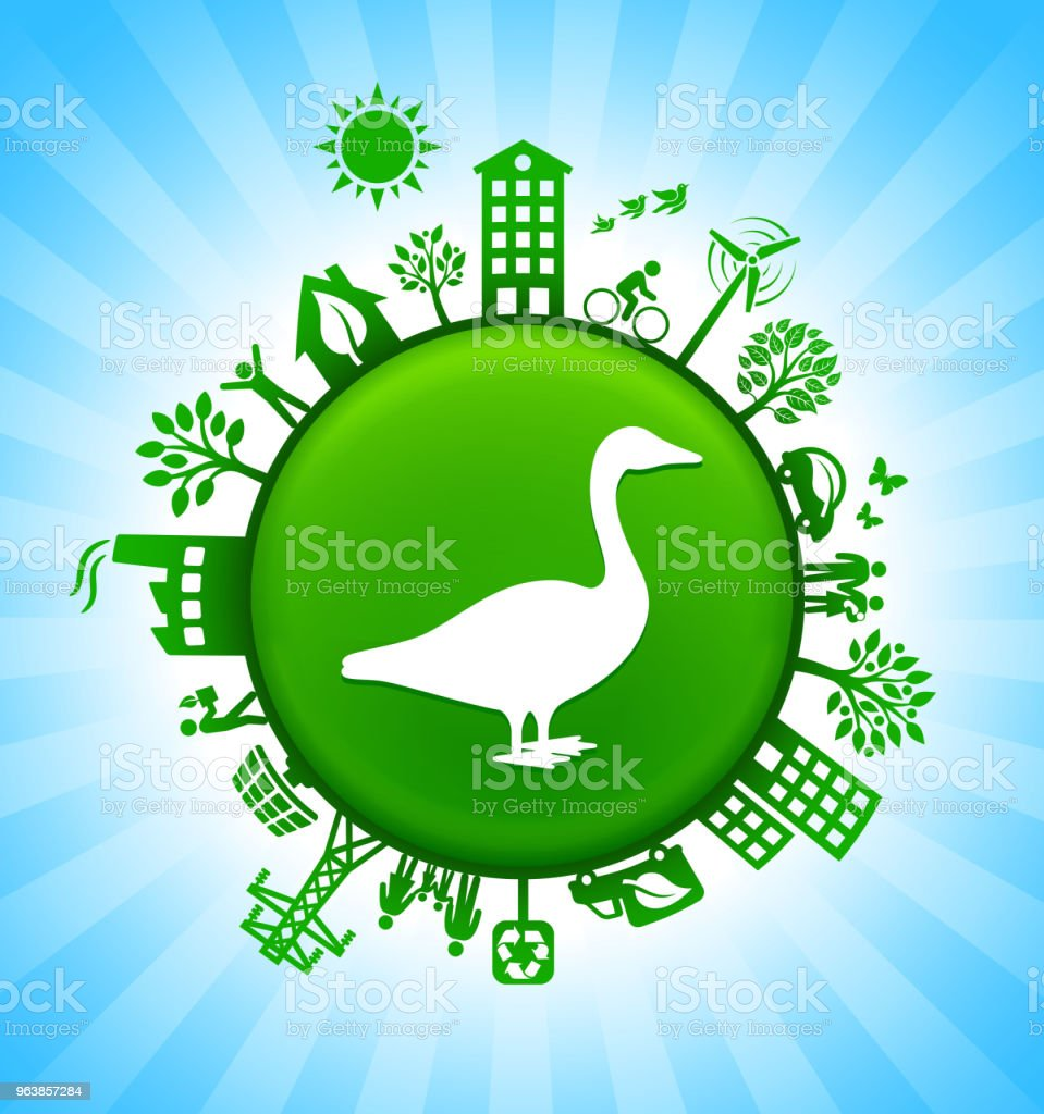 Goose Environment Green Button Background on Blue Sky - Royalty-free Alternative Energy stock vector
