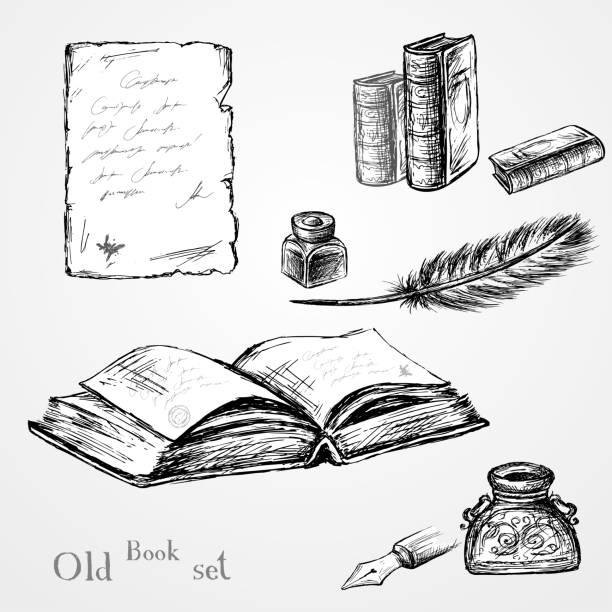 ilustrações de stock, clip art, desenhos animados e ícones de goose feather , elegant old-fashioned decorative inkpot ,old pap - tinteiro
