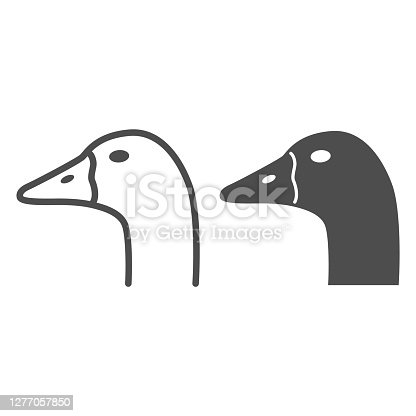 Goose head line and solid icon, Farm animals concept, domestic fowl portrait sign on white background, Goose head silhouette icon in outline style for mobile concept and web design. Vector graphics
