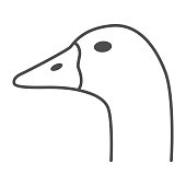 Goose head thin line icon, Farm animals concept, domestic fowl portrait sign on white background, Goose head silhouette icon in outline style for mobile concept and web design. Vector graphics