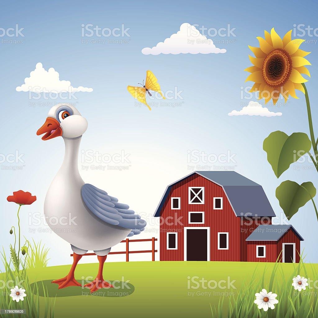Goose on the Farm royalty-free stock vector art