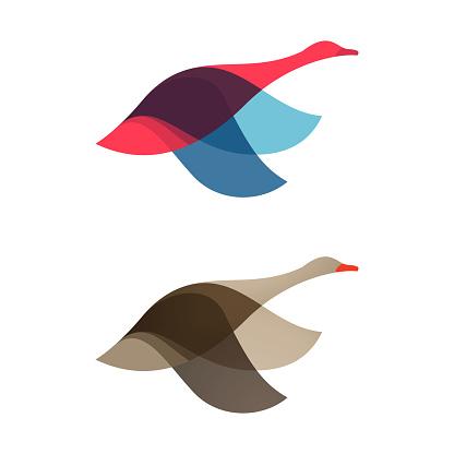 Goose, swan, bird logo vector character.