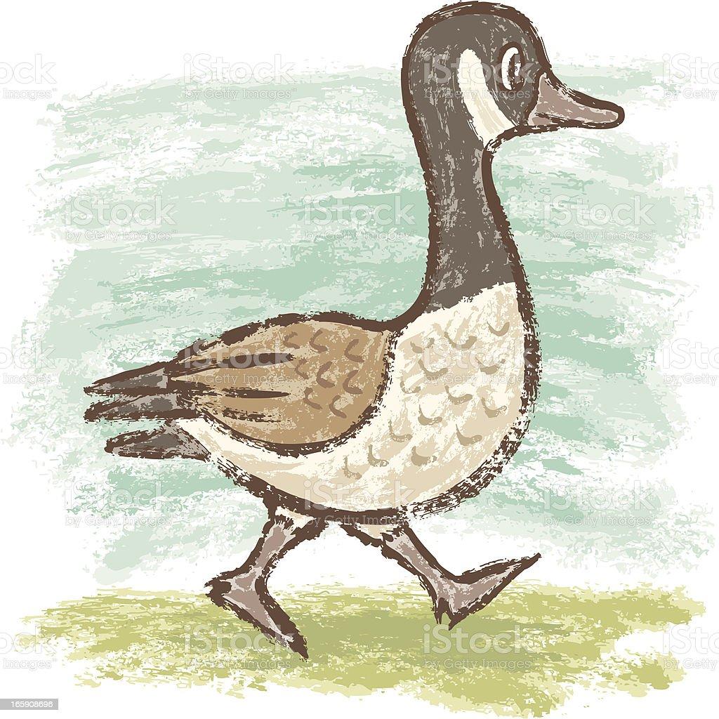 Goose walking vector art illustration