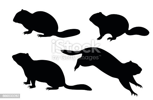 A vector silhouette illustration of a ground squirel.