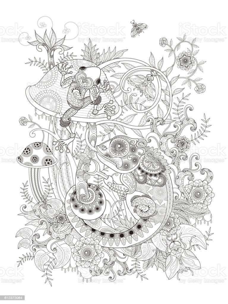 Gorgeous Adult Coloring Page Stock Illustration - Download ...