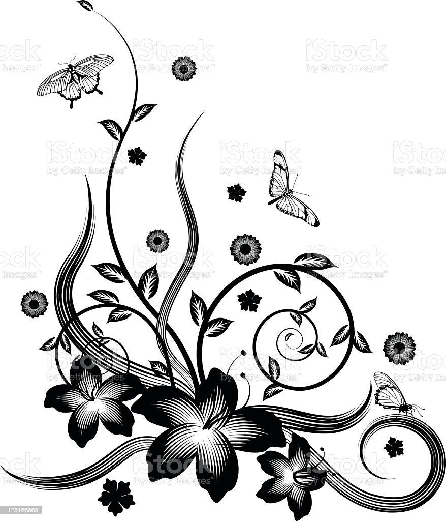 gorgeous black corner floral design stock vector art
