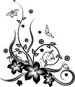 A gorgeous single colour  silhouette corner flower design with butterflies.