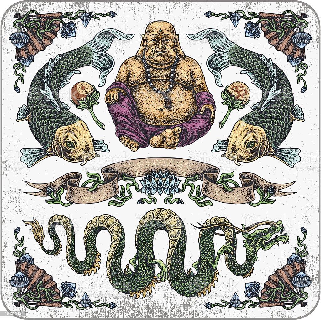 Wspaniałe Budda Tatuaż Zestaw Stockowe Grafiki Wektorowe I