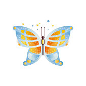 Gorgeous butterfly with blue and orange wings. Colorful icon with gradients and texture. Flat vector element for textile, greeting card or logo