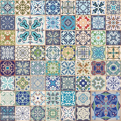 Gorgeous floral patchwork design. Colorful Moroccan or Mediterranean square tiles, tribal ornaments. For wallpaper print, pattern fills, web background, surface textures.  Indigo blue white teal aqua.