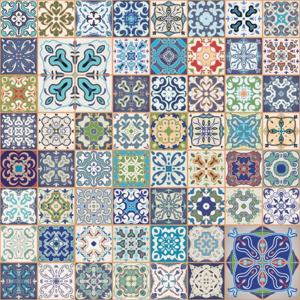 wspaniały kwiatowy patchworkowy wzór. kolorowe kwadratowe płytki ozdoby. bezszwowe tło. - kultura portugalska stock illustrations