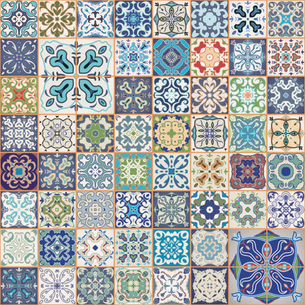 ilustrações de stock, clip art, desenhos animados e ícones de gorgeous floral patchwork design. colorful square tiles ornaments. seamless background. - lisbon