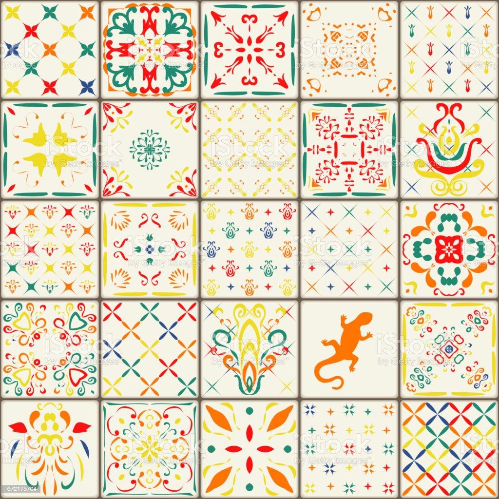豪華な花柄パッチワーク デザインモロッコや地中海の正方形のタイル部族の装飾品します壁紙印刷パターン塗りつぶしweb ページの背景テクスチャを表面します アメリカ合衆国のベクターアート素材や画像を多数ご用意 Istock