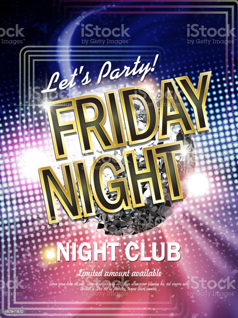 gorgeous Friday night club poster vector art illustration